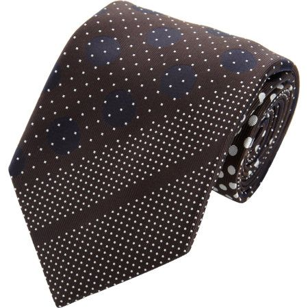 Silk tie woven in diagonal patchwork pattern.