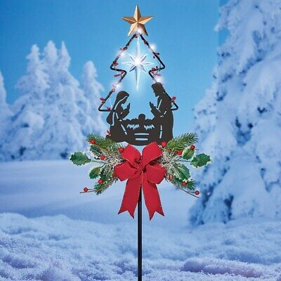 Solar Lighted Nativity Scene Snowflake Hanging Porch Patio Christmas Dangler 16 29 Outdoor Christmas Decorations Nativity Star Outdoor Christmas