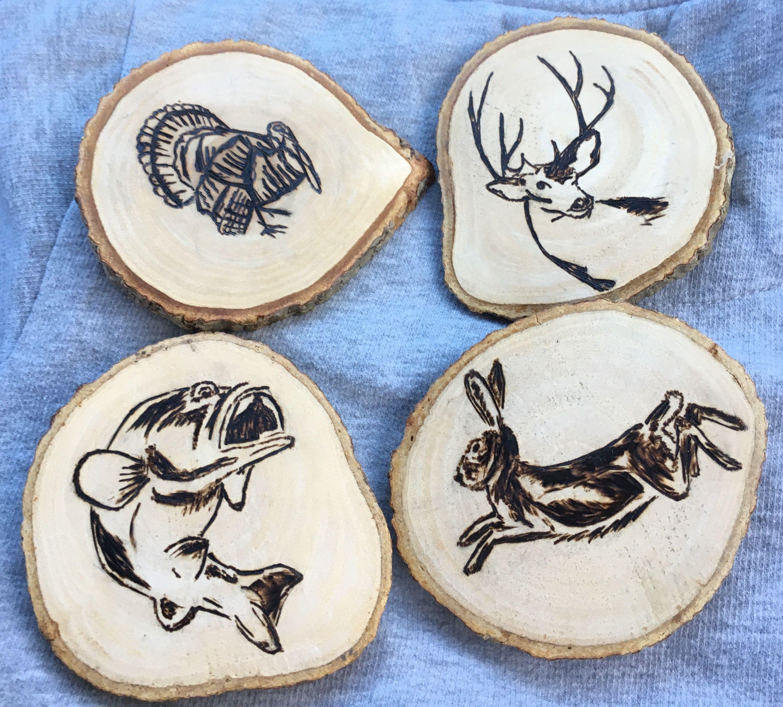 Hunting Fishing Coasters Pyrography Wood Burning Christmas Baskets Wood Coasters Wood Crafts