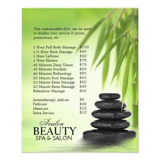 Sold  Customizable Promotional Flyers For Massage Salon