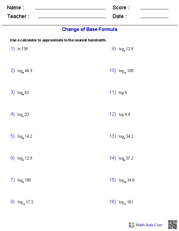 The Change of Base Formula Worksheets | Teacher\'s Little Helpers ...