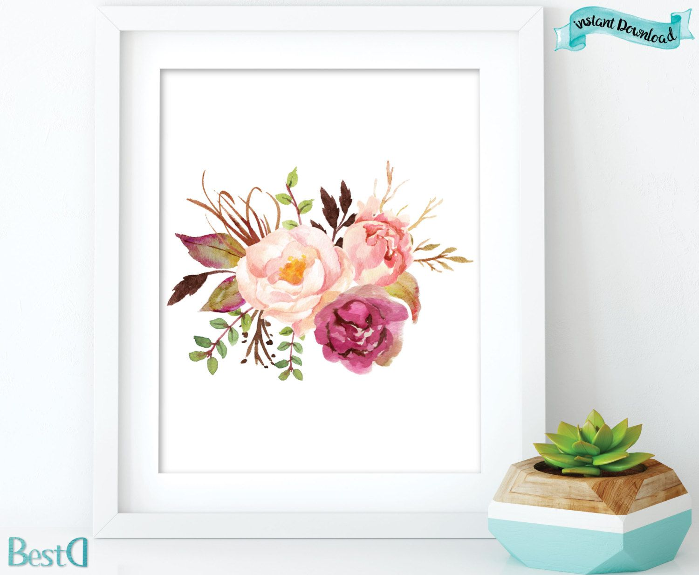 Printable Room Decor Watercolor Flowers Printableflowers Printablenursery Room Decor