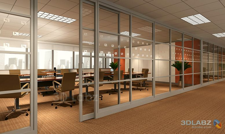 Glass Wall Interior 3d Render Glass Wall Office House