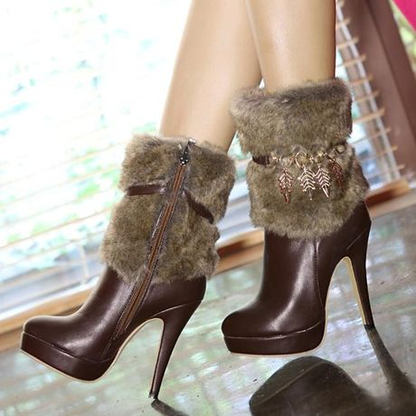 Women's Ankle-High Faux Fur Middle Heel Boots
