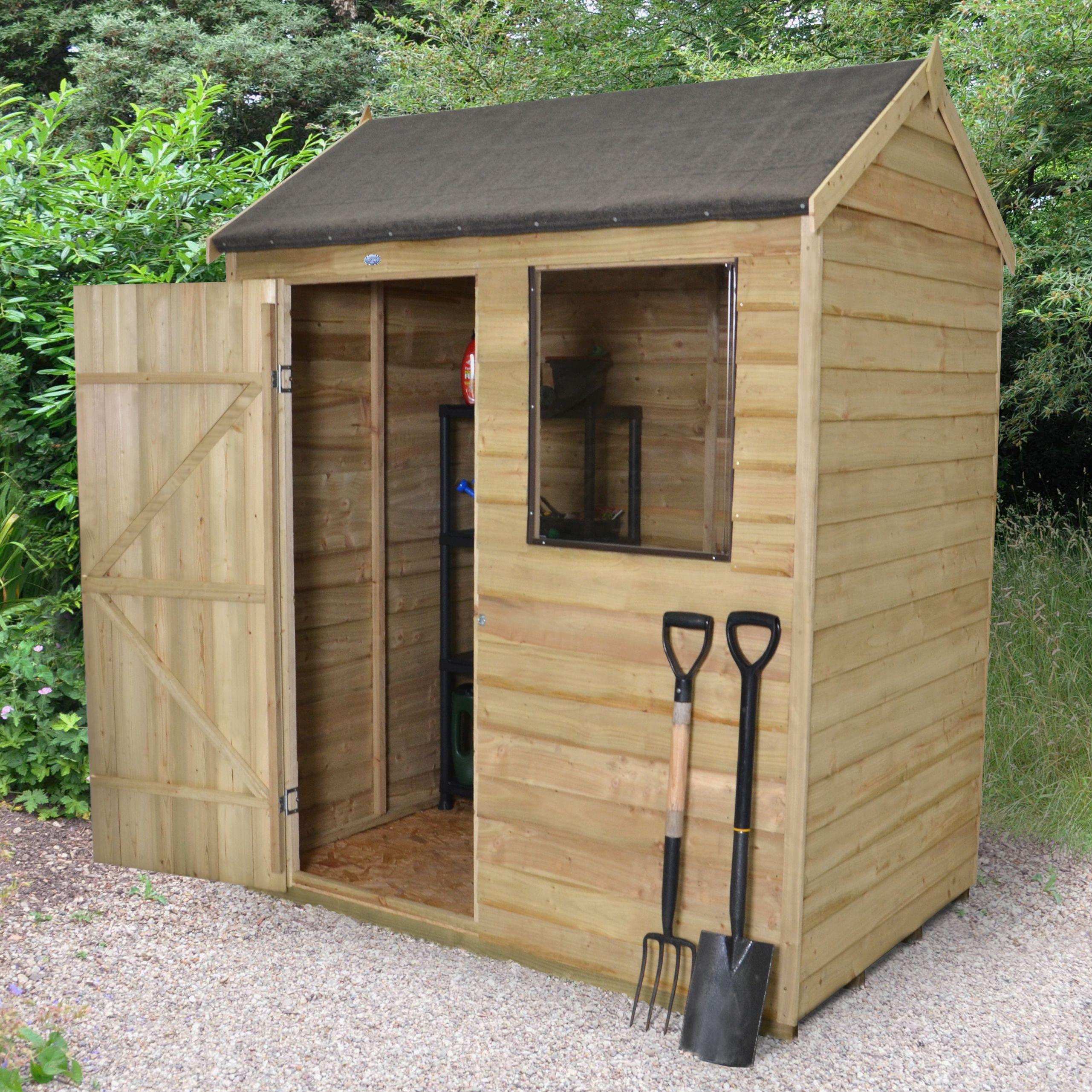 6x4 reverse apex overlap wooden shed - Garden Sheds B Q