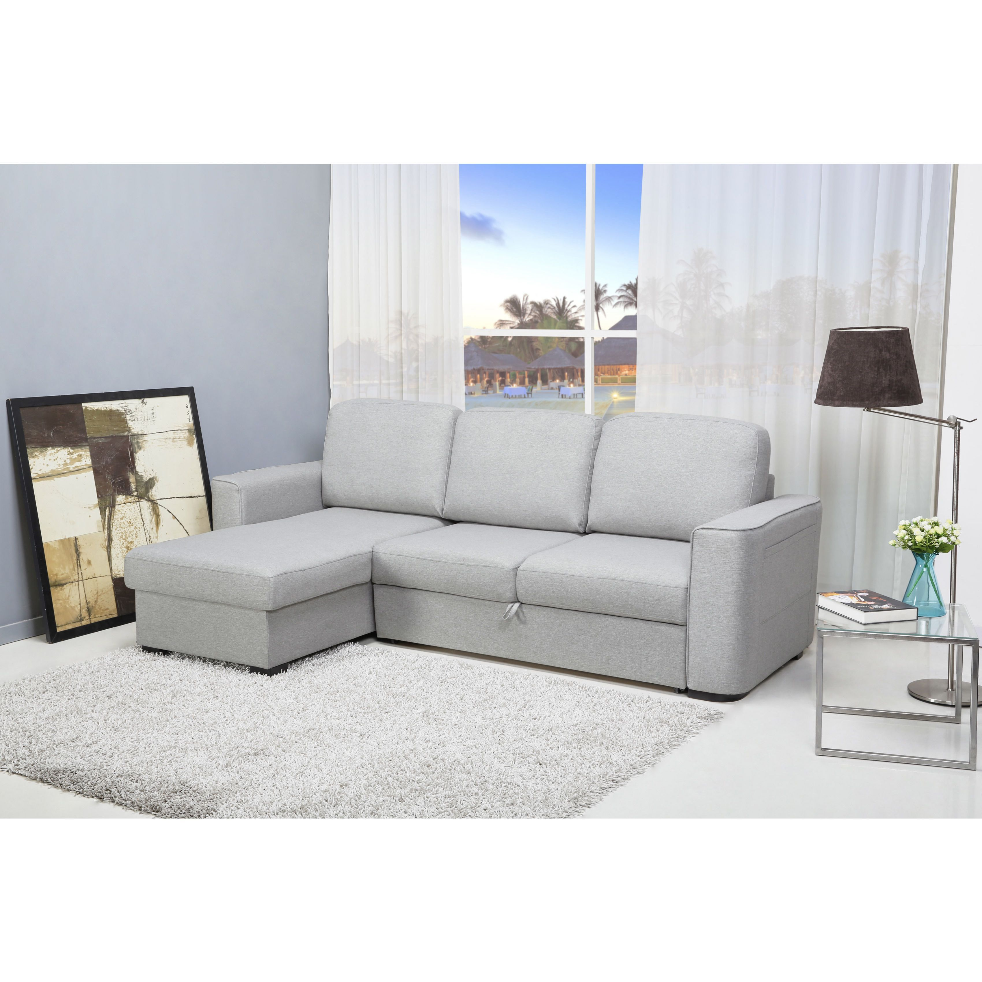 Gold Sparrow Huntington Mist Convertible Sectional Sofa Bed