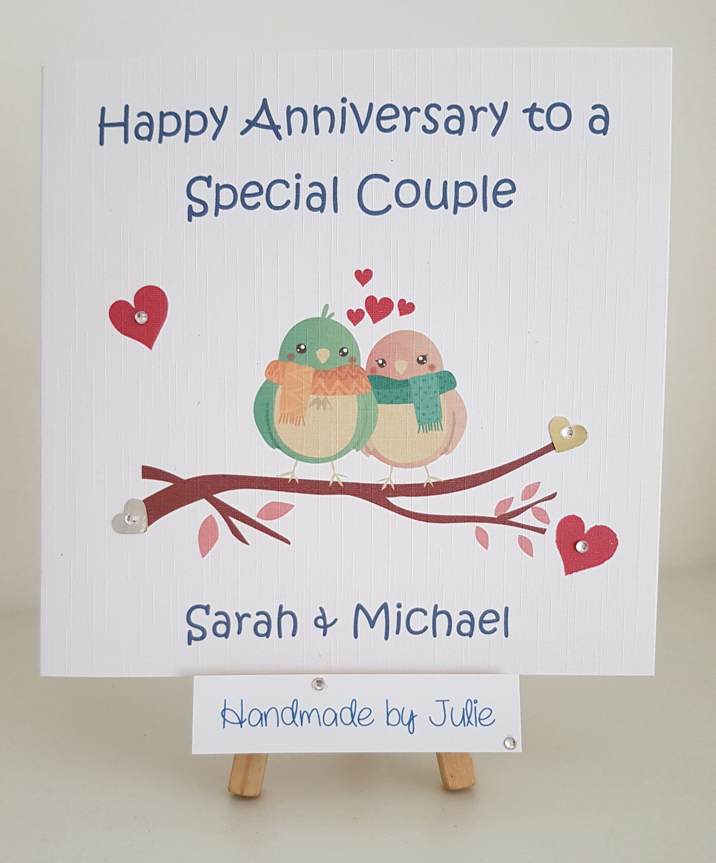 Gorgeous Wedding Anniversary Card For Couple Mum Dad Friends Nan Grandad Cute Love Birds Personalised With Names Any Anniversary Year Anniversary Cards For Couple Anniversary Cards Wedding Anniversary Cards