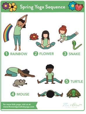 spring yoga sequence free poster in 2020  kids yoga
