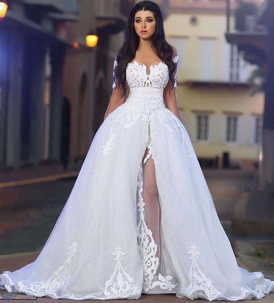 Sheer long sleeve wedding dresses  Modern Wedding Dress with Sheer Long Sleeves  Wedding Dresses in