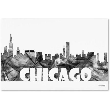 Trademark Fine Art 'Chicago Illinois Skyline BG-2' Canvas Art by Marlene Watson, Size: 22 x 32, Gray