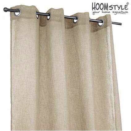 HOOMstyle kant & klaar gordijnen 2 stuks linnenlook stof ringen ...