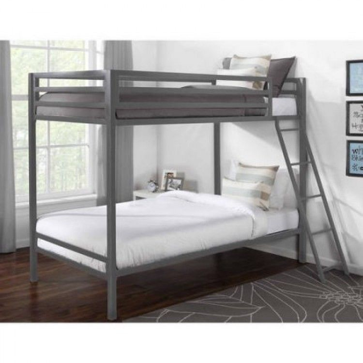 Twin Bunk Beds Over Twin Solid Metal Frame Ladder Kit Kids Boys Bedroom