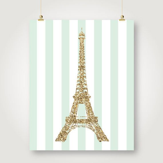 mint and gold glitter eiffel tower french by SunnyRainFactory Girl