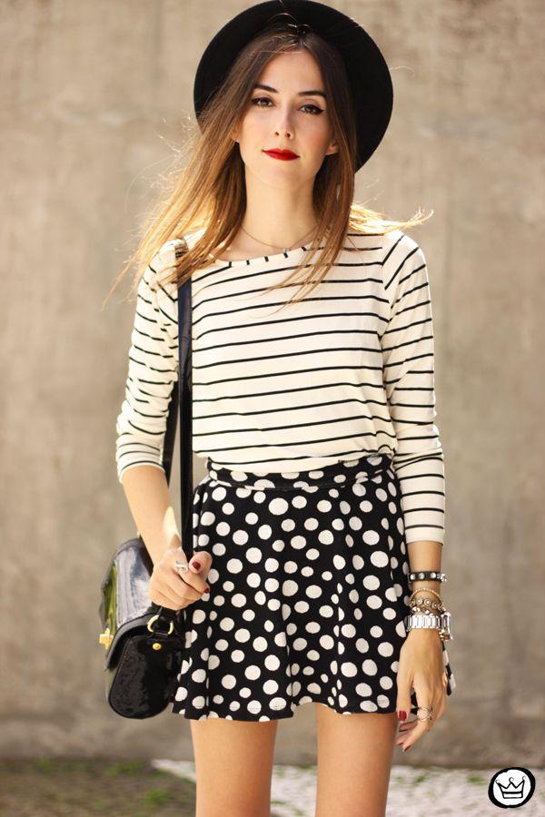 FashionCoolture - 19.03.2015 look du jour Sly Wear striped top dots skirt  (2) b8343229c6d