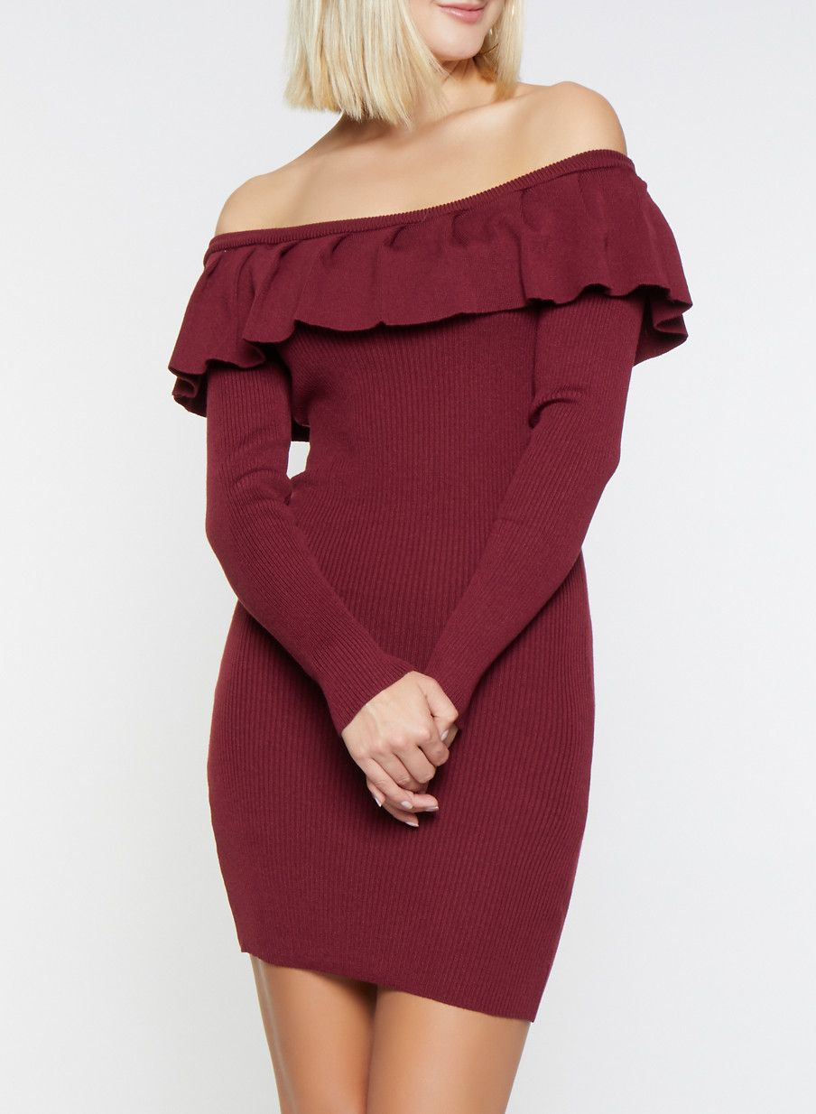 a86a5cbb8db3 Ruffle Off the Shoulder Sweater Dress - Burgundy - Size M