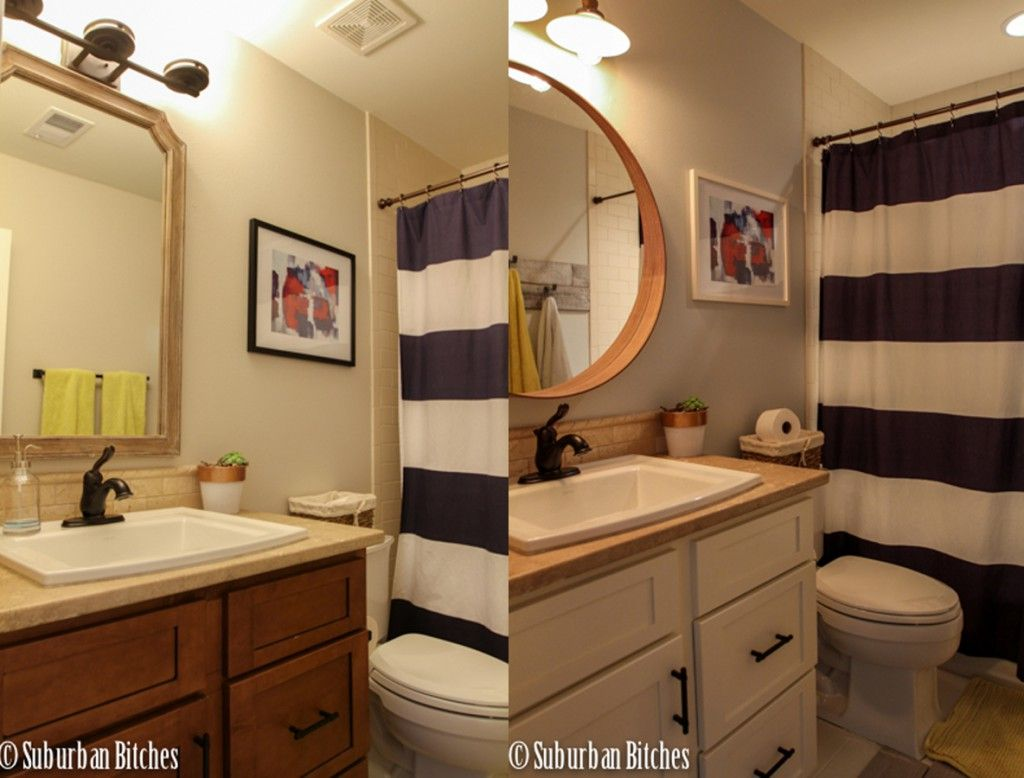 before and after of bathroom // suburban bitches. Year of Change Challenge {July}