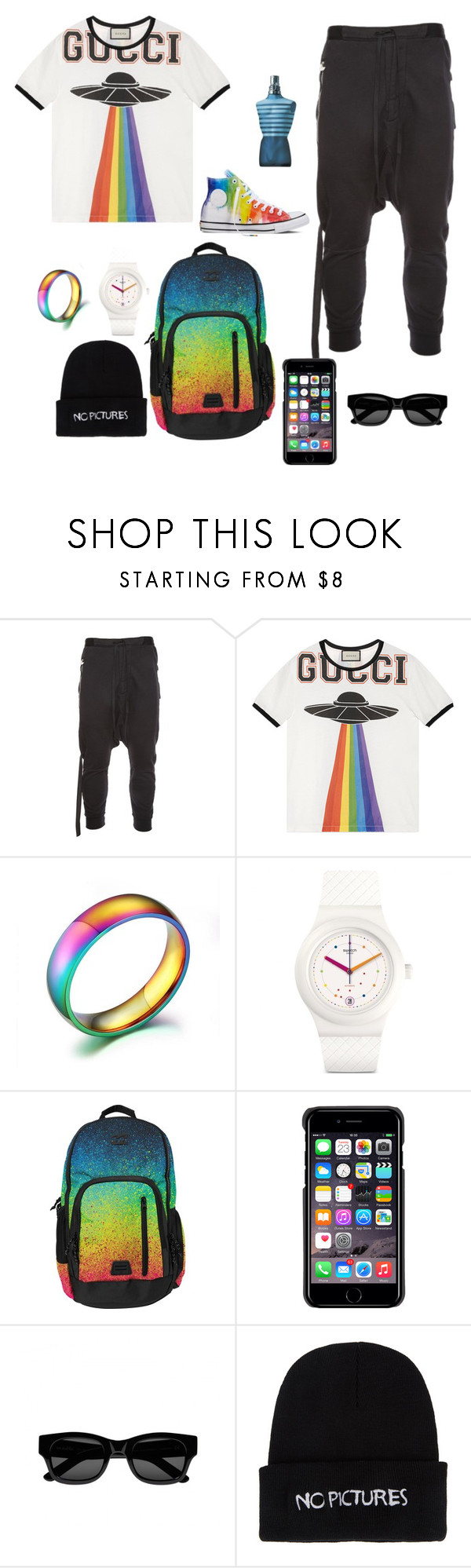 """""""created by Marianna Kocharyan"""" by m180 ❤ liked on Polyvore featuring Unravel, Gucci, Billabong, County Of Milan, Sun Buddies, Nasaseasons, Jean-Paul Gaultier, Converse, men's fashion and menswear"""