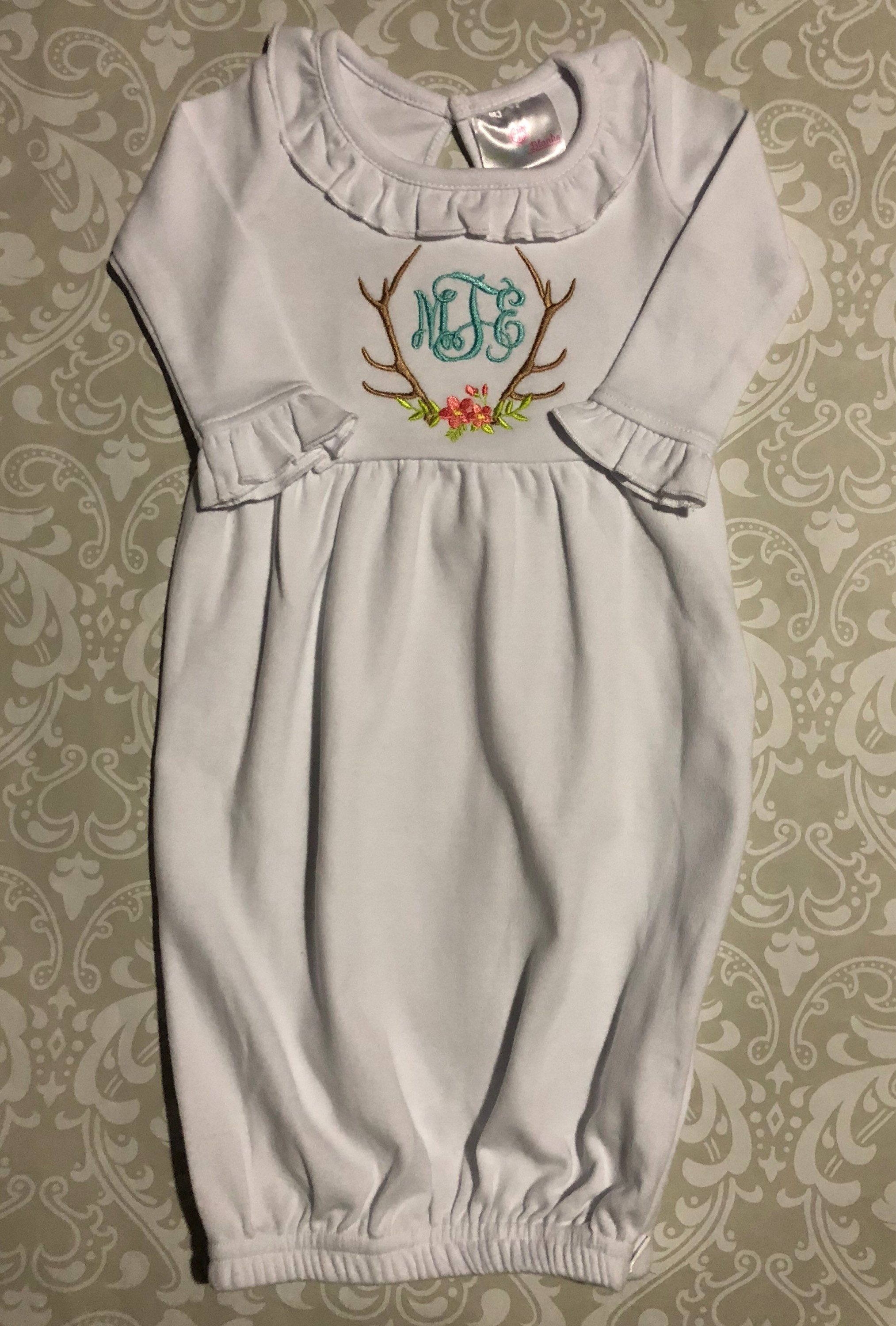 Monogram baby gown with antlers and flowers. Monogrammed baby girl ...