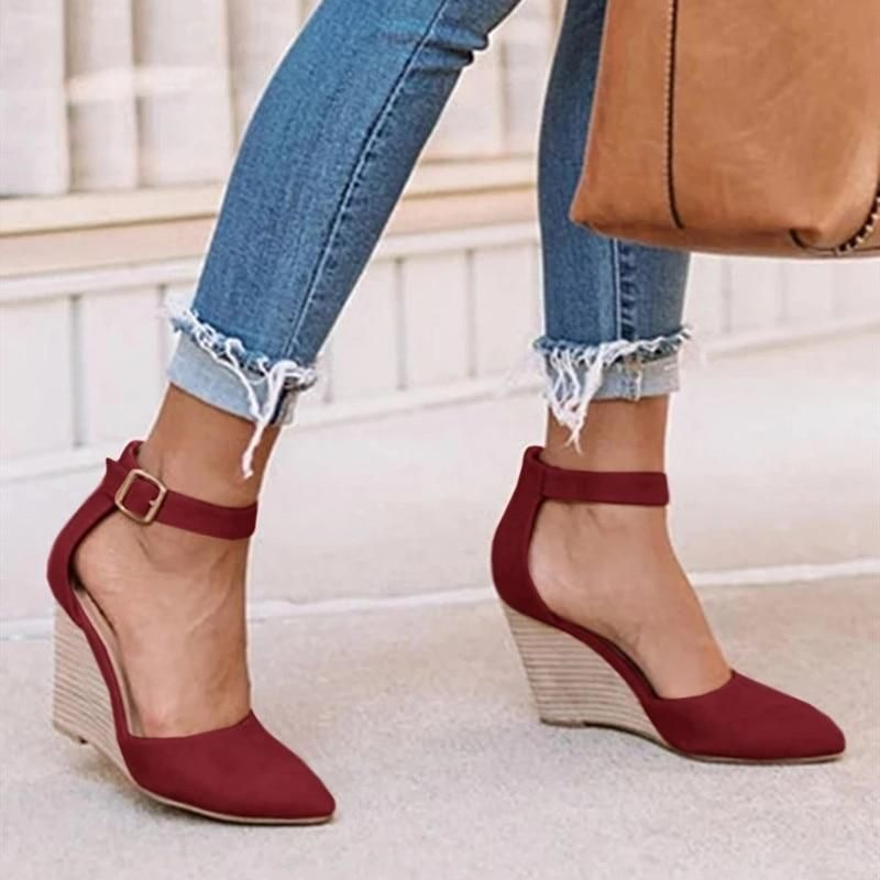 Details about  /Pearl Straps Ankle Buckle Pumps Womens Comfort Casual Party Pointed Block Heels
