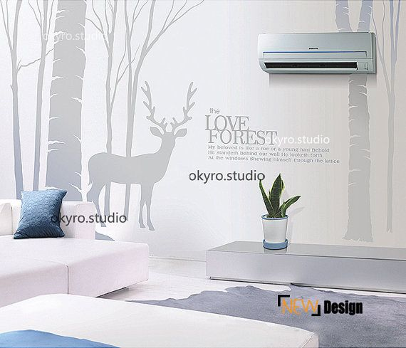 Deer In Forest Wall Stickers Deer Forest Wall Decal Bible Quote Wall Decal  Tree With Deer Wall Sticker Sittingroom TV Wall Bedroom