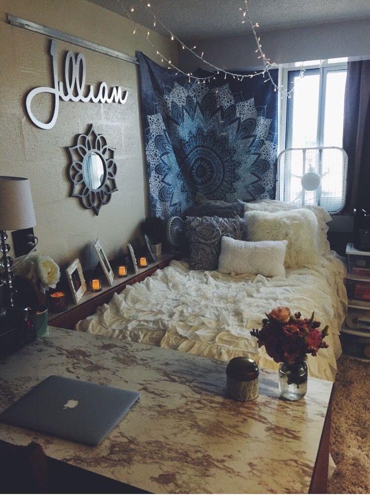 Freshman Penn State Dorm Room With Marble Desk  I Like The Tapestry Across The Corner Softens The Edge