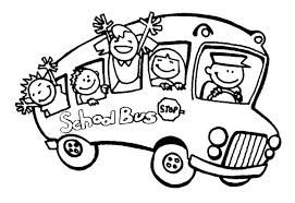 A fun picture to color of a school bus with children