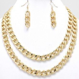 Double Layer Fab Diva Necklace Set (Gold) via RushmeJewelry. Click on the image to see more!