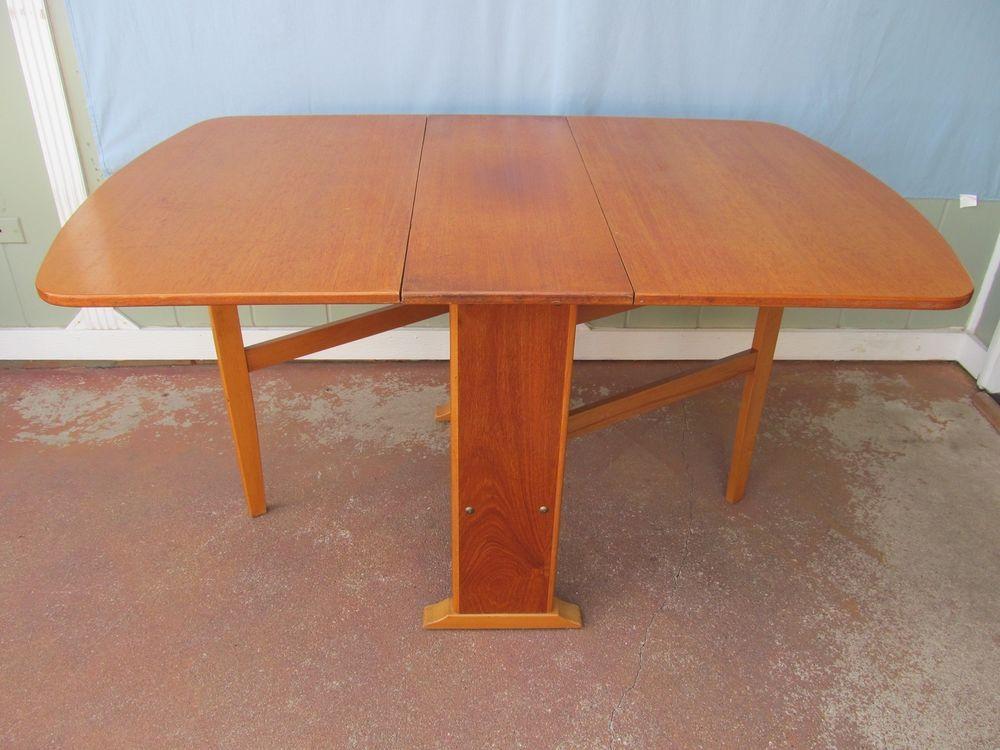Vintage Mid Century Danish Teak Dining Table Folding Drop Leaf Gate Leg