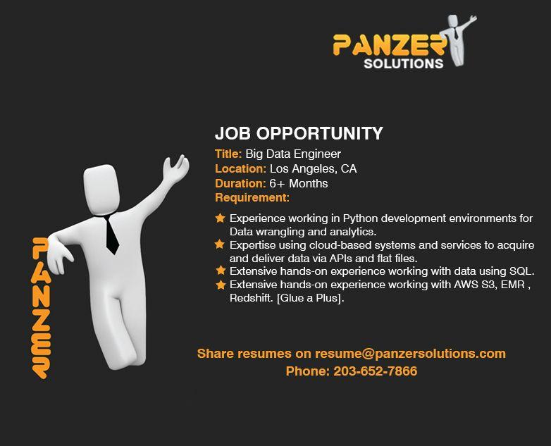Big data engineer job opportunities business analyst