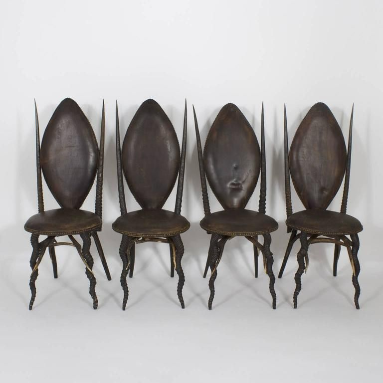 Early 20th Century Set of Six Horn Dining Chairs