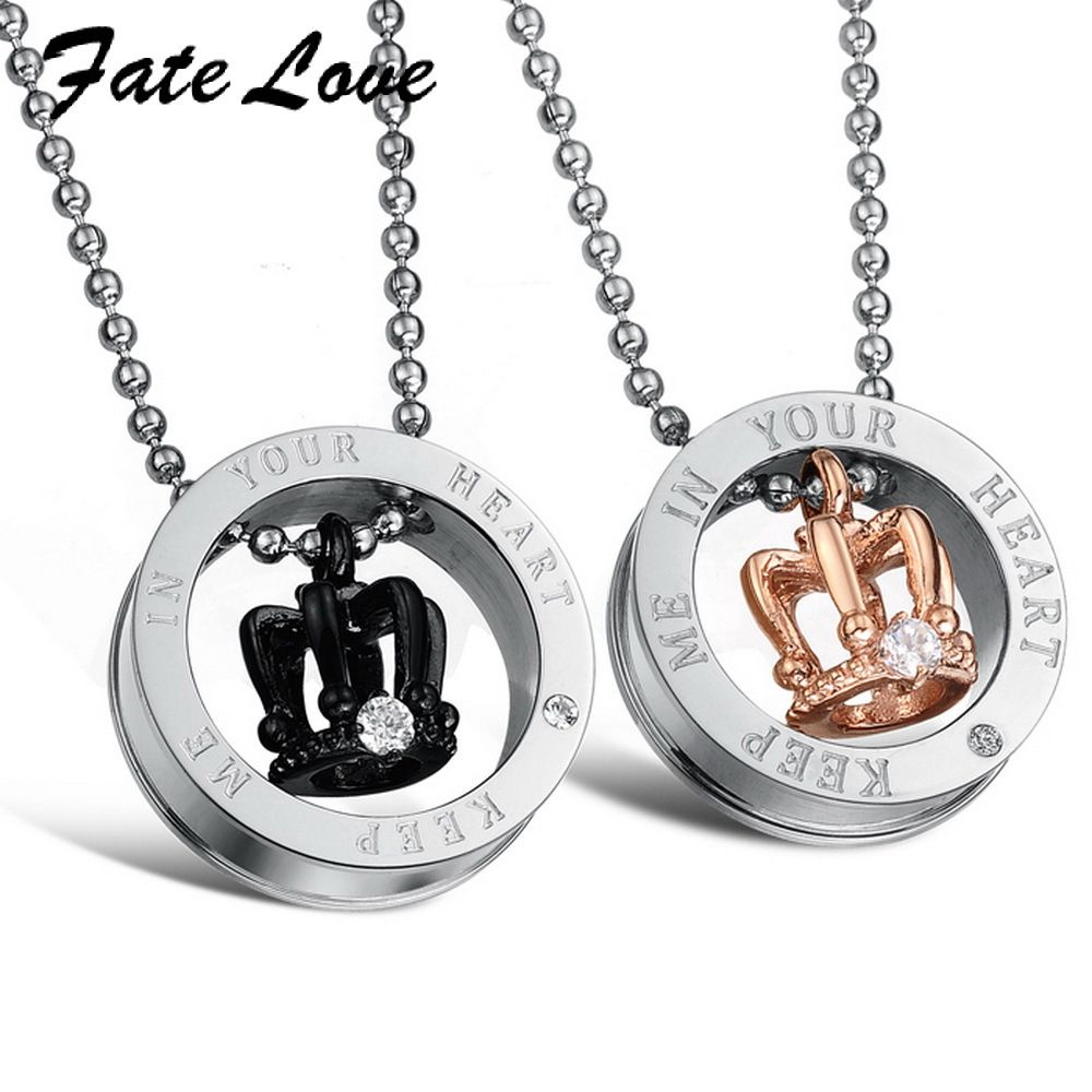 Fate love new collection stainless steel circle pandent unique pendants fate love new collection stainless steel circle pandent unique luxury crown man woman statement necklace christian aloadofball Images