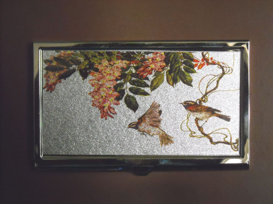 Vintage business card case with birds & flowers | Accessorizations ...