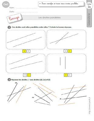 cm2: Exercices les DROITES PARALLELES | Géométrie cm2 ...