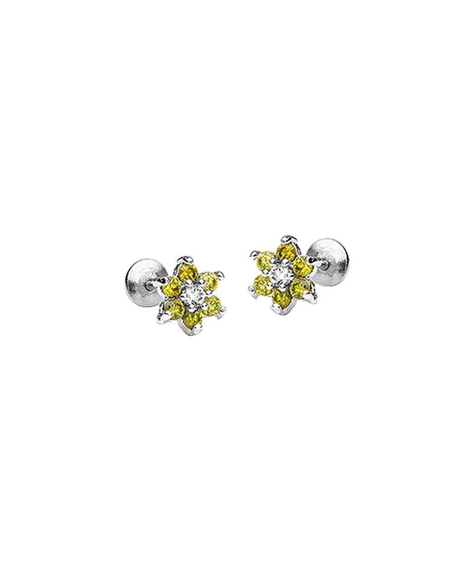 This Lovearing Yellow Cubic Zirconia & Sterling Silver Flower Stud Earrings by Lovearing is perfect! #zulilyfinds