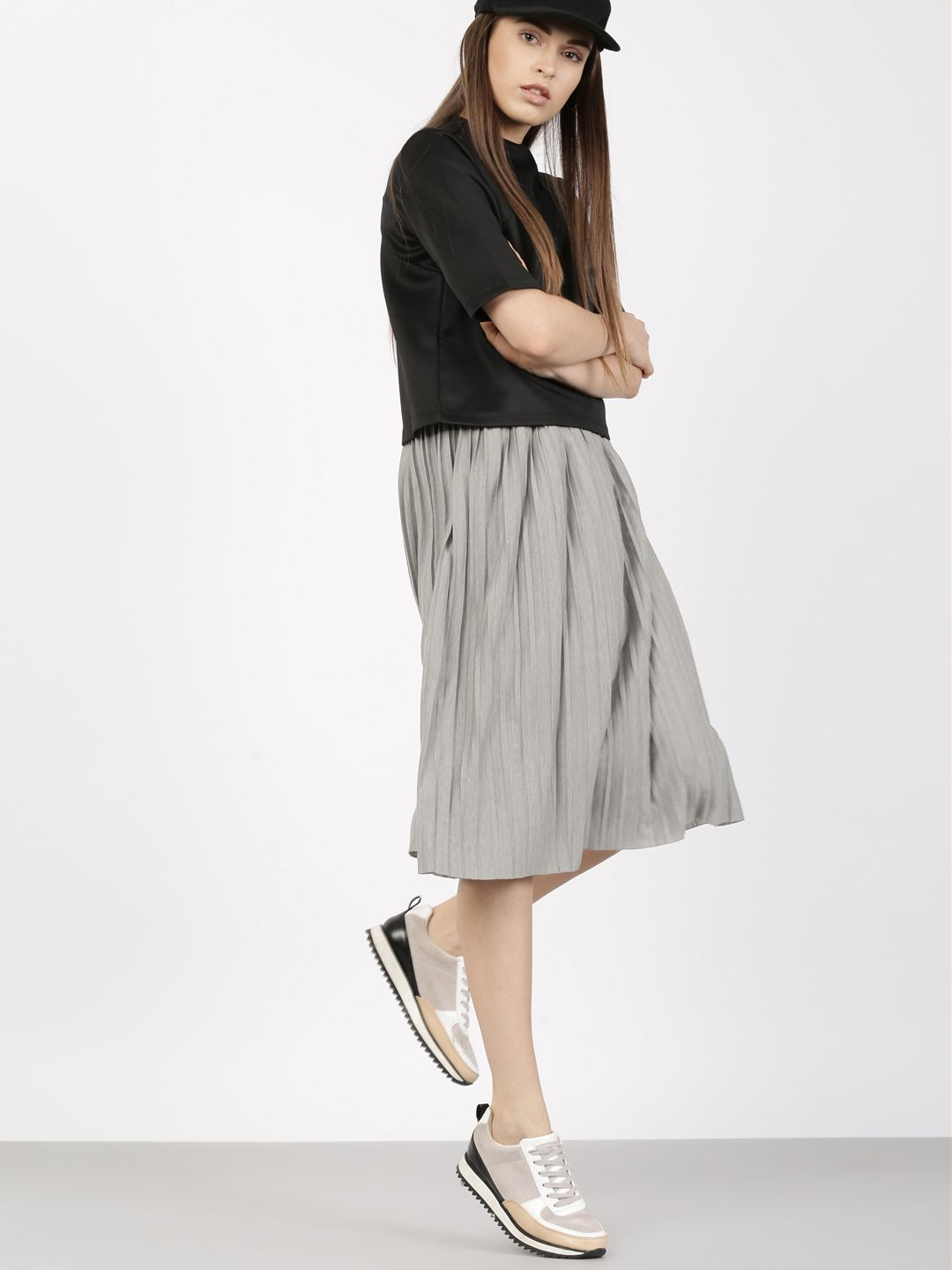 88be8202f7 ether Grey A-Line Midi Skirt | Hello, Snappy Dresser! | Midi skirt ...