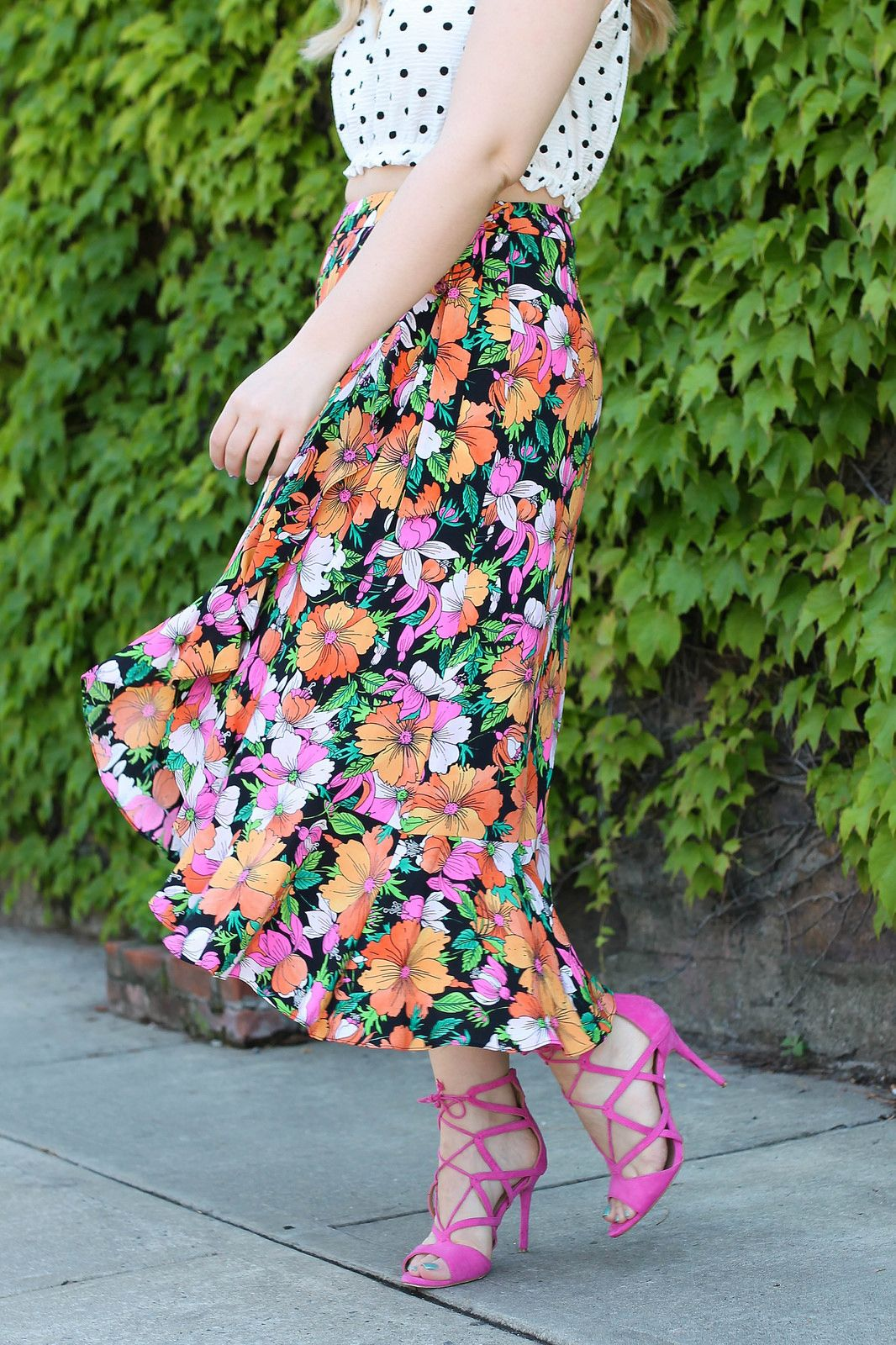 d722a9eaf Topshop Heavy Petal Print Midi Skirt Nordstrom Westchester Pink Lace Up  Sandals