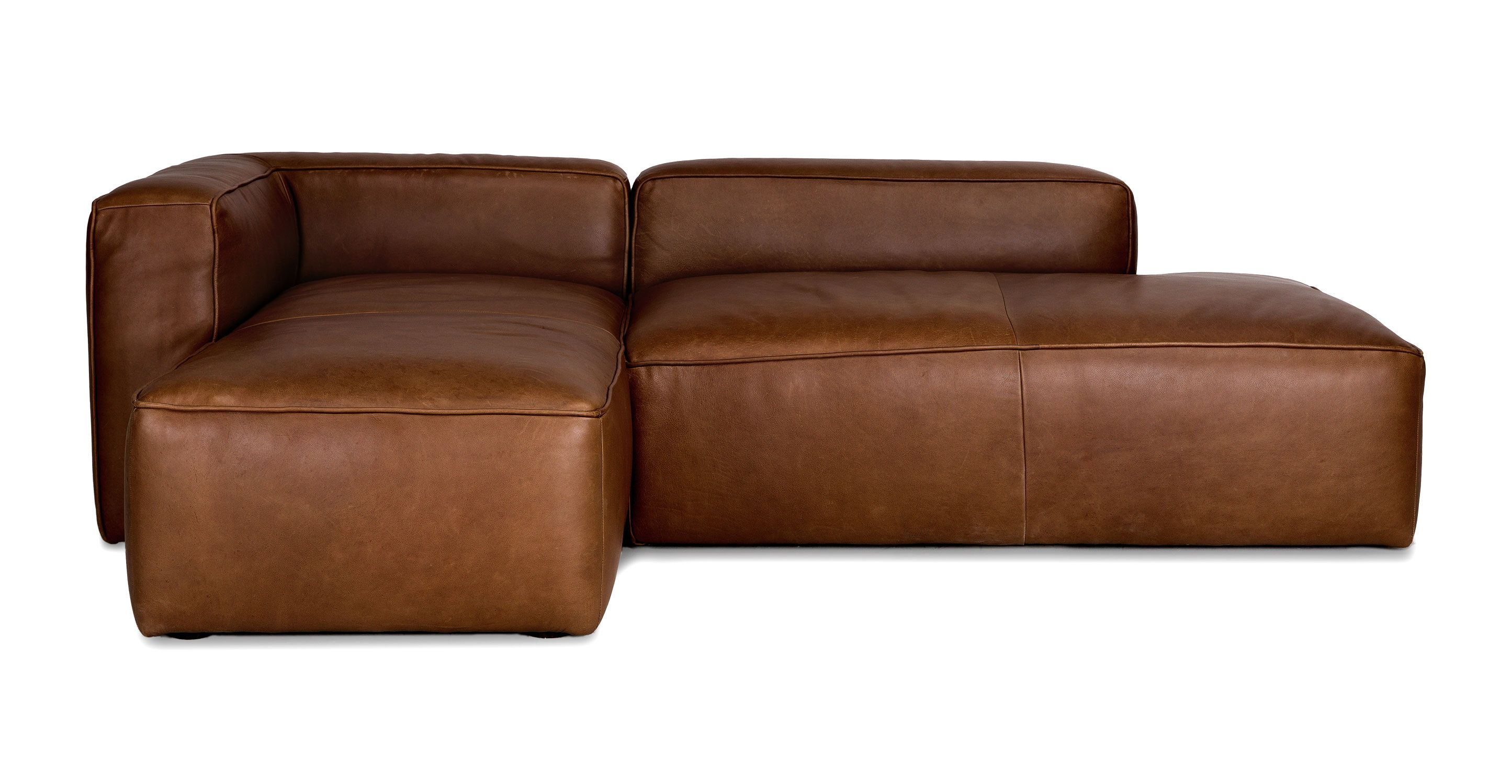 Brown Leather Left Sectional Upholstered