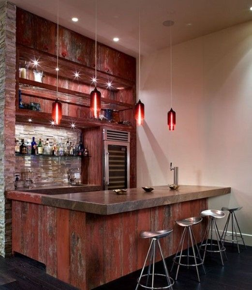 Wood Home Bar Interior Design. Like The Size Of The Overhang.