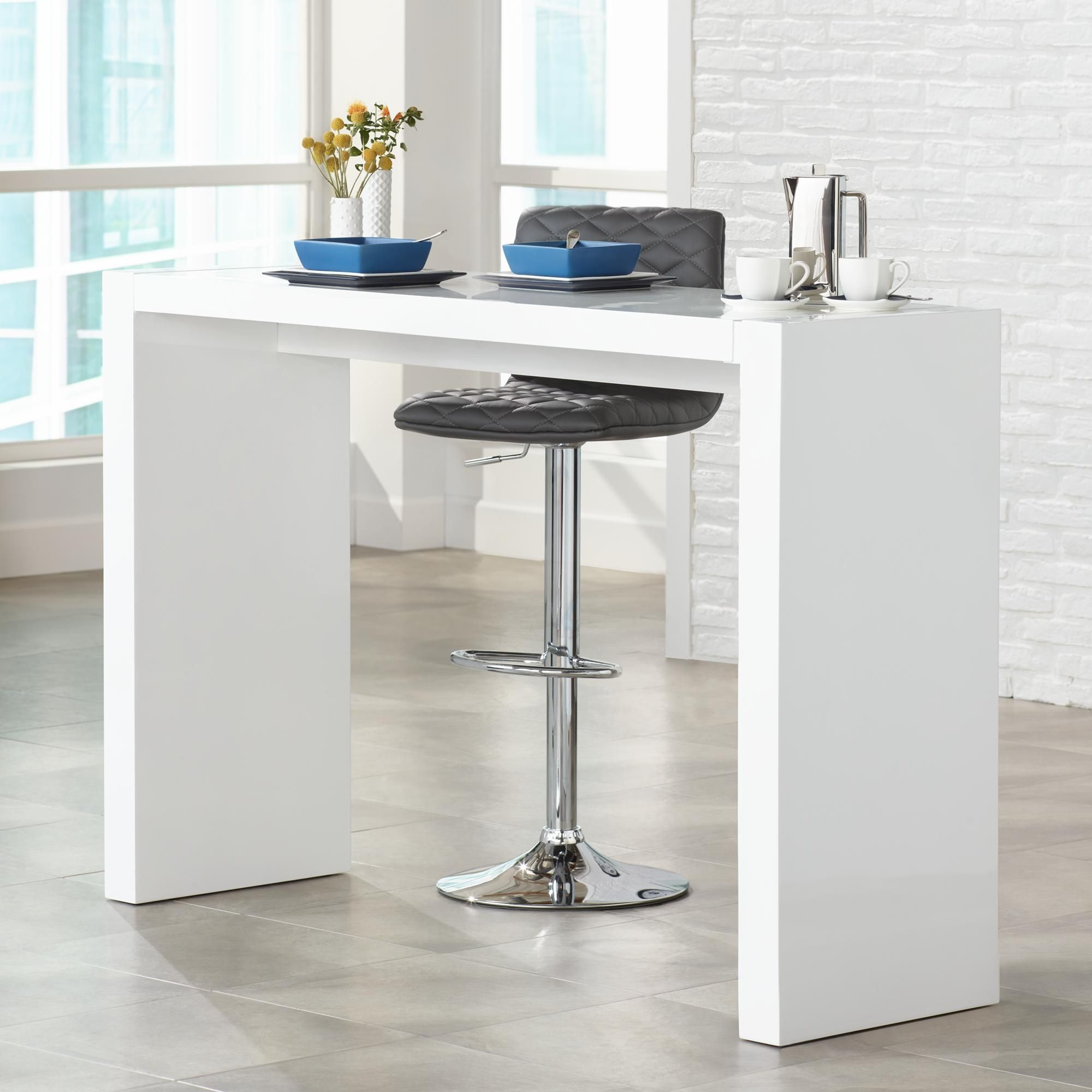 Tables Velia 60 Wide High Gloss White Modern Bar Table Modern Bar Table White Bar Table Home Bar Table