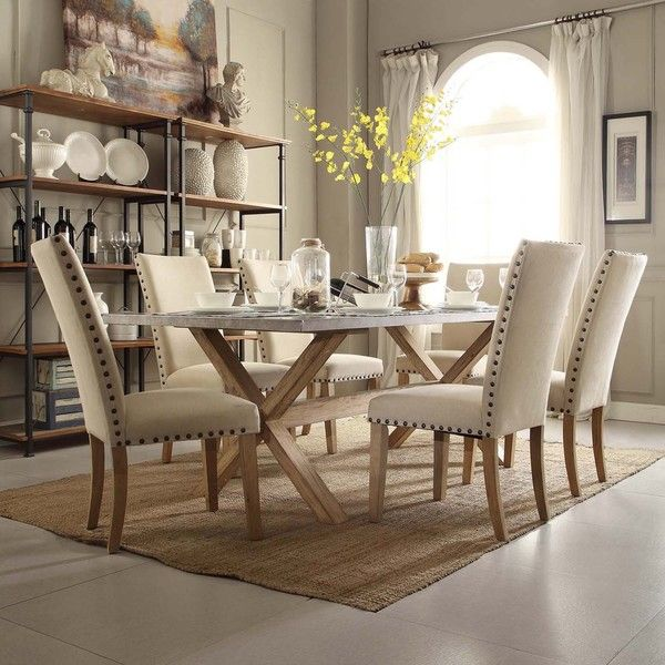 INSPIRE Q Aberdeen Industrial Zinc Top Weathered Oak Trestle Dining Table    Overstock™ Shopping