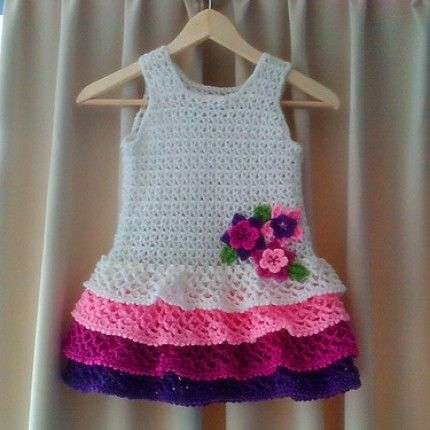 Crochet For Children: Rows o\' Ruffles Dress - Free Pattern | Crochet ...