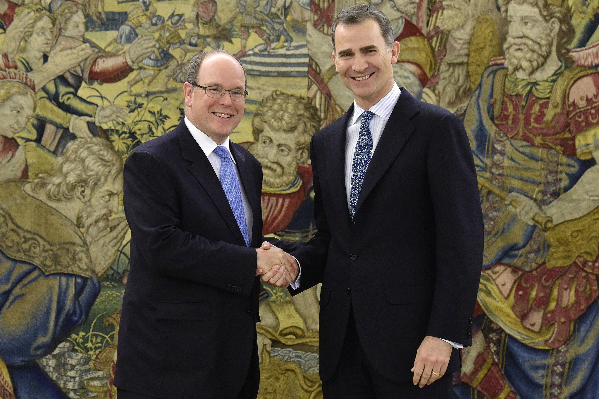King Felipe VI meets with Monaco's Prince Albert II.