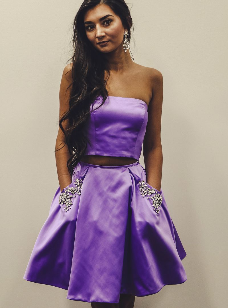 Purple two piece satin short homecoming dress with pockets
