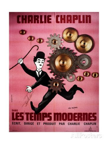 Garcon De Cafe Wall art. Classic Charlie Chaplin movie Reproduction poster