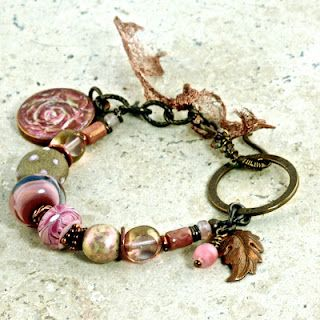 'Amor Vincit Omni' - Love Conquers All. Bracelet in soft pinks and earthy browns featuring a Simple Truths pendant of a rose designed by Cherrie Fick of En La Lumiere http://www.designsinthelight.co. I love Cherrie's color choices.