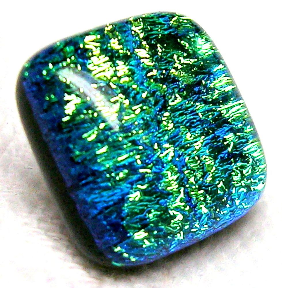 STELLAR DICHROIC ART GLASS BUTTON w/SHIMMERING CARRIBEAN BLUE-GREEN-GOLD COLORS