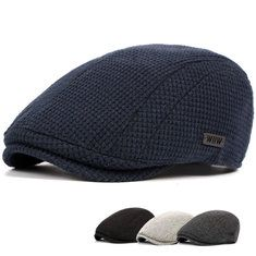 Mens Classic Cotten Blend Newsboy Ivy Hat Warm Knitted Winter Driving Hat Beret for Men