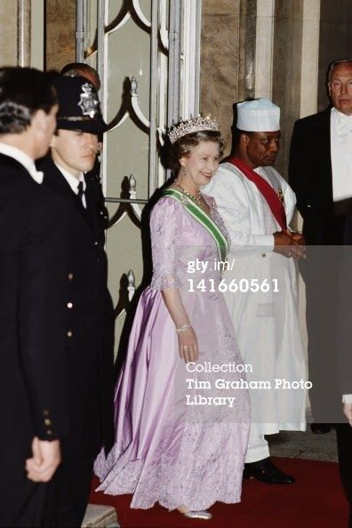 Queen Elizabeth attending a Banquet hosted by President of Nigeria on May 11, 1989