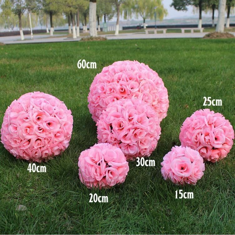 Hot Pink Artificial Encryption Silk Flower Rose Ball Hanging Kissing Ball For Wedding Decora Flower Centerpieces Wedding Wedding Party Centerpieces Flower Ball