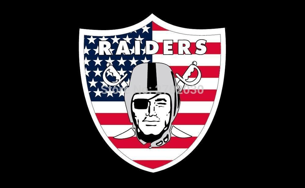 Oakland Raiders American Flag 3ft X 5ft Polyester Banner White Sleeve Raider Banner All Football Fan Oakland Raiders Oakland Raiders Raiders Flag Football Fans